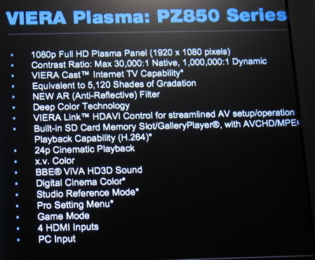 New Panasonic Plasmas